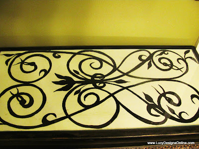 scroll look painted vanity table top