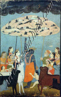 Krishna Raising Mount Goverdhan
