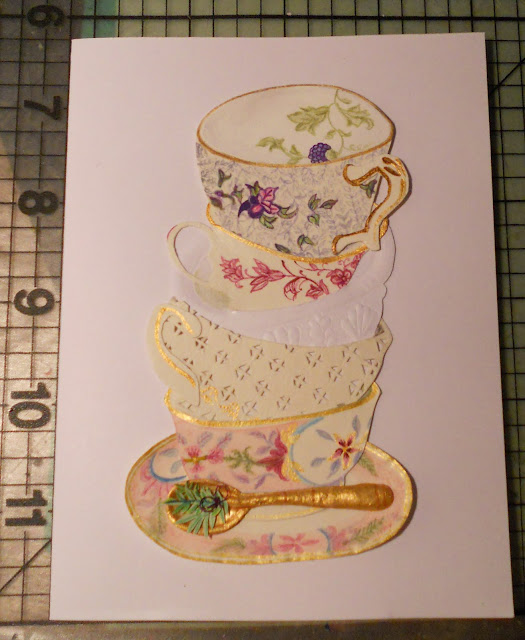 Handmade card with really cute stacked tea cups