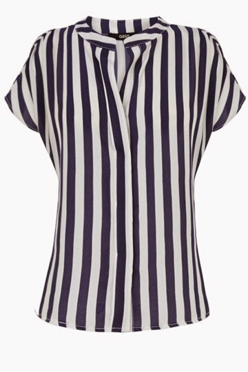 oasis navy white stripe blouse