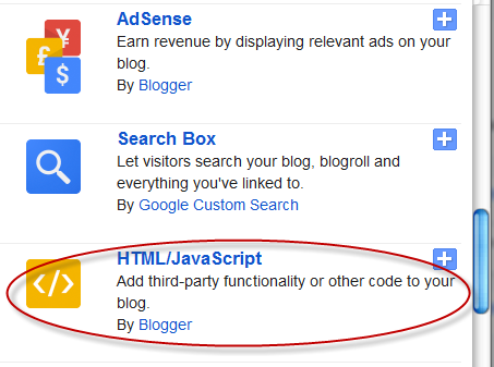 html javascript gadget, blogger gadgets