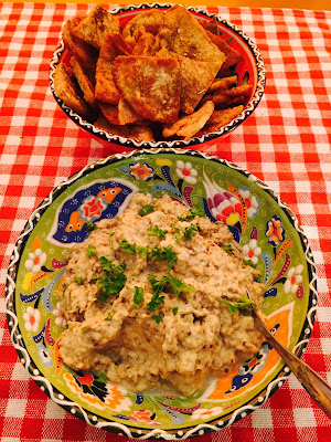 Baba Ghanoush aubergine dip with fried Za'atar pitta crisps