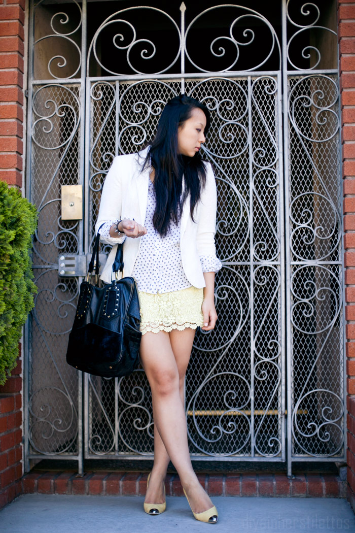 zara white lace blazer, zara crochet giupere lace skirt, equipment daddy silk button up shirt, yellow leather metal toe pumps, black leather bag, fashion blog, street style, diya liu