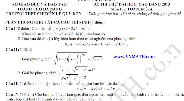 de thi thu dai hoc mon toan, chuyen le quy don da nang, 2013