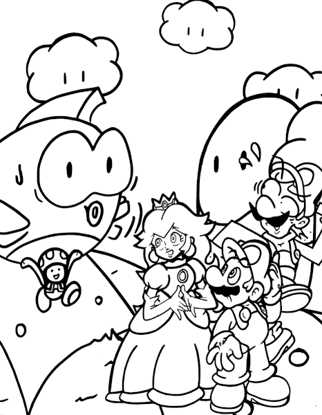 Mario and Peach Coloring Pages