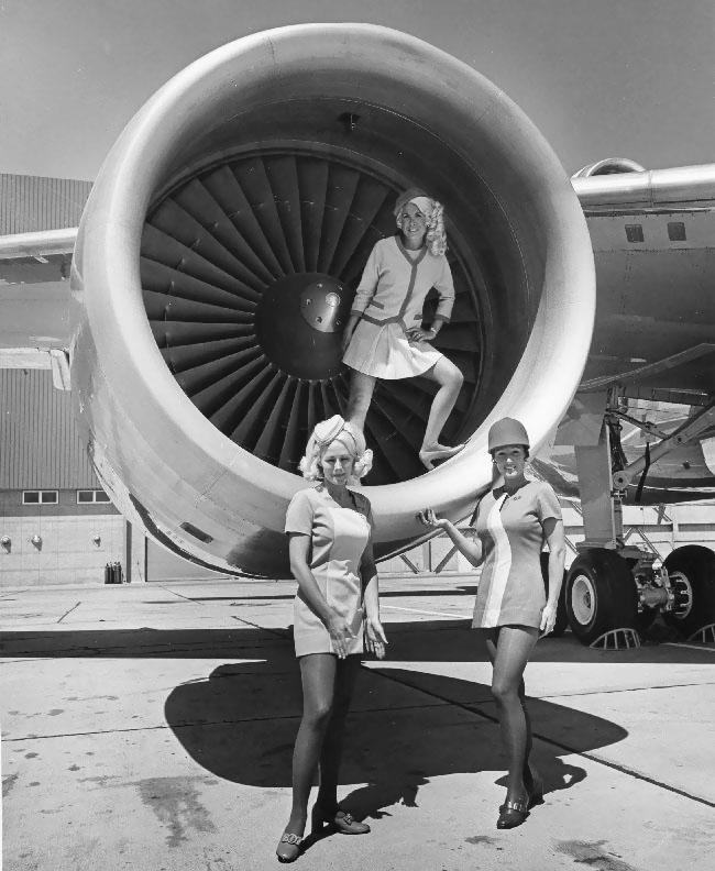 PSA stewardess still pretty even black and white ~ World