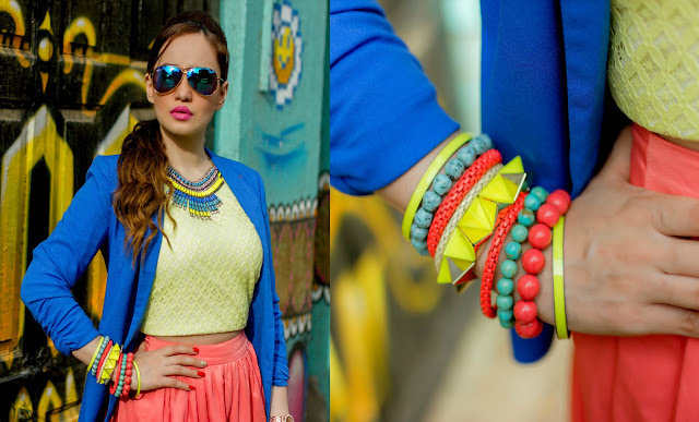 Cobalt Blue Blazer, Yellow Top, Beaded Bracelets, Ray-ban mirrored sunglasses