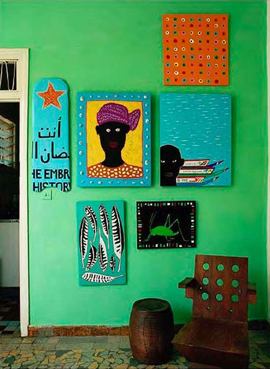 Safari Fusion blog | African green | Bright green walls in a Senegal residence via Pinterest