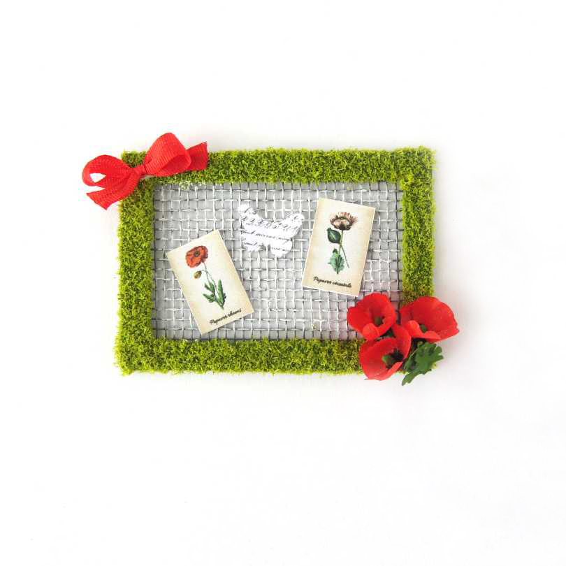 Frame with poppies for dollhouse
