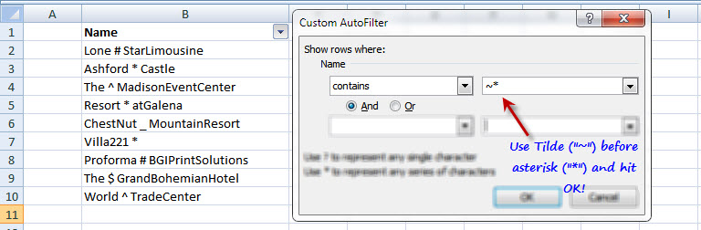 Microsoft Excel Tips Filter Asterisk Character