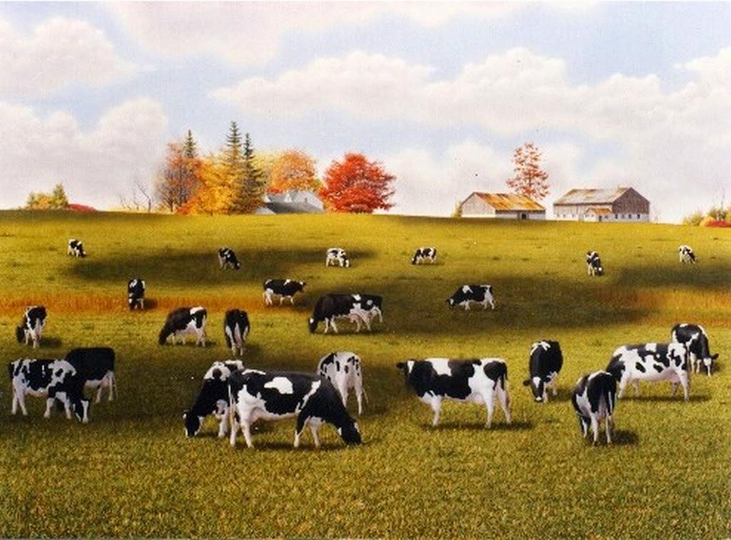 Cuadros pinturas oleos cuadros de paisajes decorativos - Cuadros de vacas ...