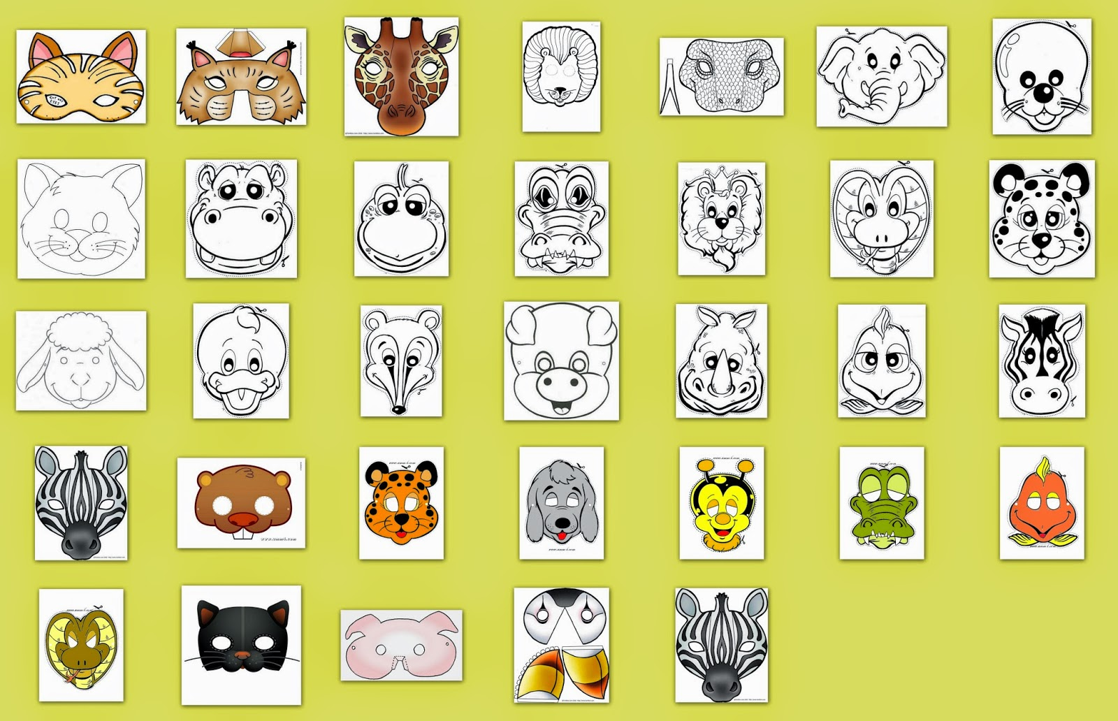 Animals Free Printable Masks.