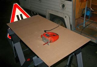Preparing to cut the shelf