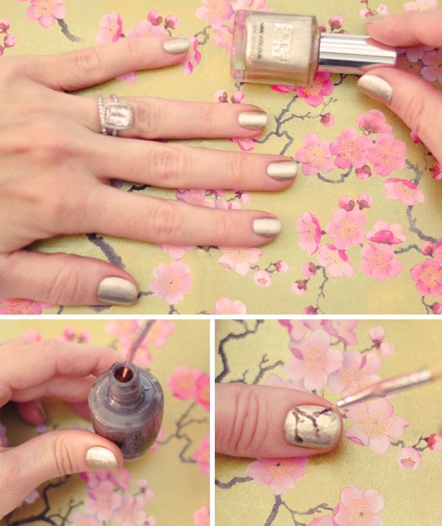 DIY Pink and Gold Cherry Blossom Nails + Nail Art Tutorial