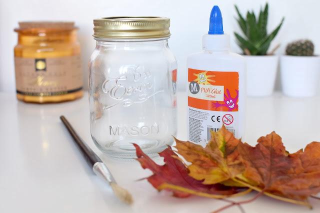 DIY Autumn Leaves Mason Jar Candle