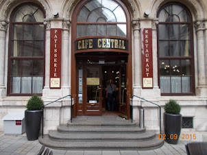 """Entrance to historic """"Cafe Central """" in Vienna."""
