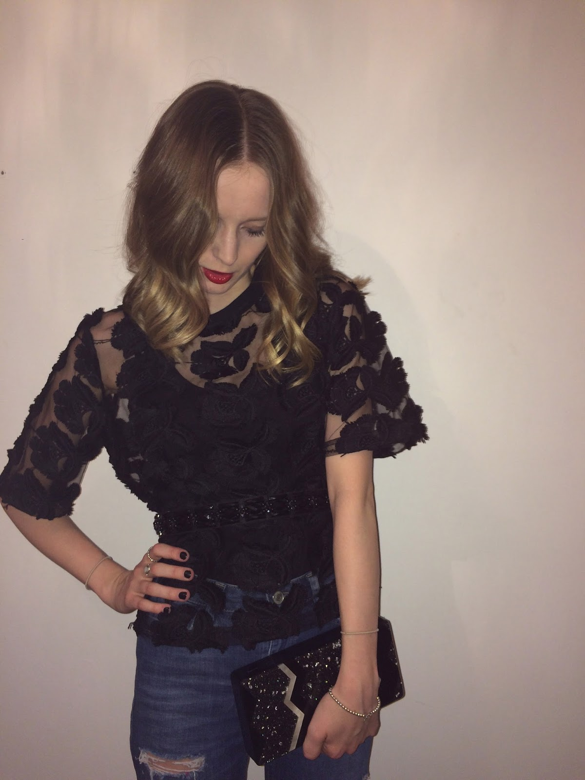H&M LACE TULLE APPLIQUE TOP, WAREHOUSE CLUTCH, NEW LOOK BELT