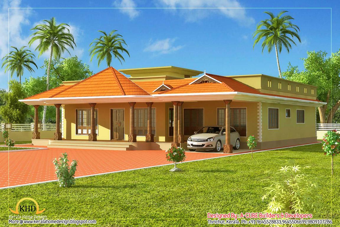 Kerala Style Single Floor House Architecture - 232 Square Meter (2500 ...