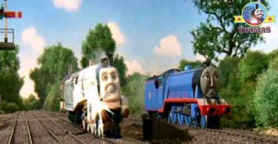 Thomas train Gordon and Spencer the tank engine a huge fast train Eurorail engine rocketed pasted