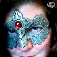 Handmade Mask with Red Gem, nielo finish