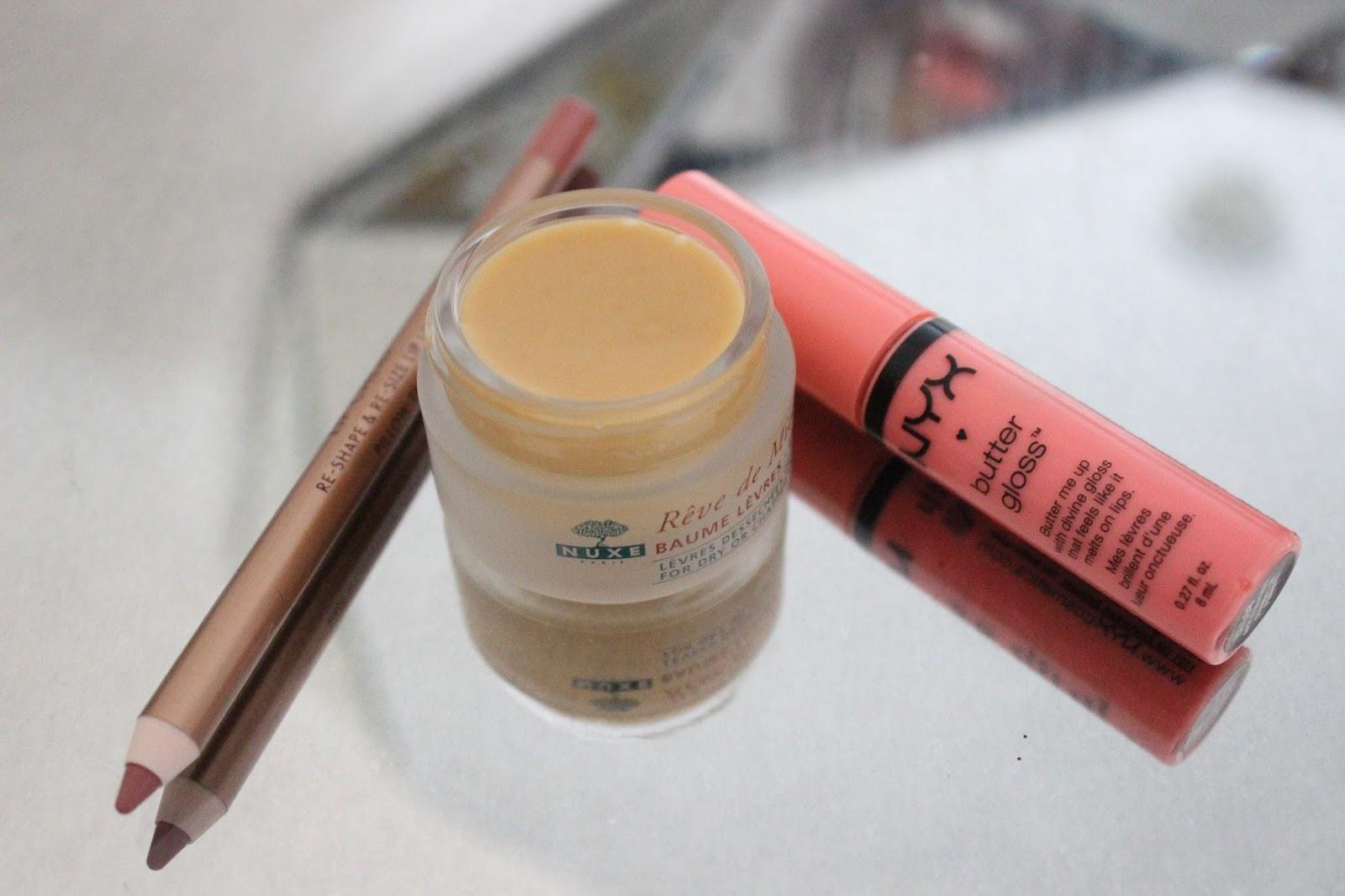 14 Top Beauty Favourites of 2014 - Charlotte Tilbury Lip Cheat in Pillow Talk, Nuxe Reve de Miel Lip BAlm, NYX Butter Gloss