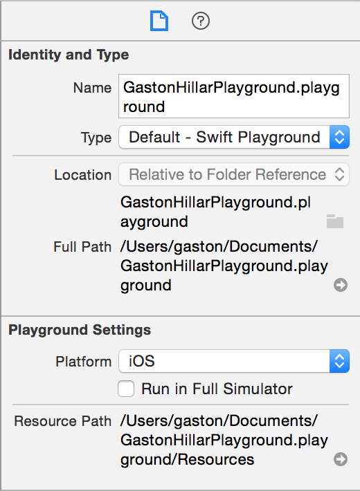 Swift Playground that targets iOS in XCode, select View | Utilities | Show File Inspector.