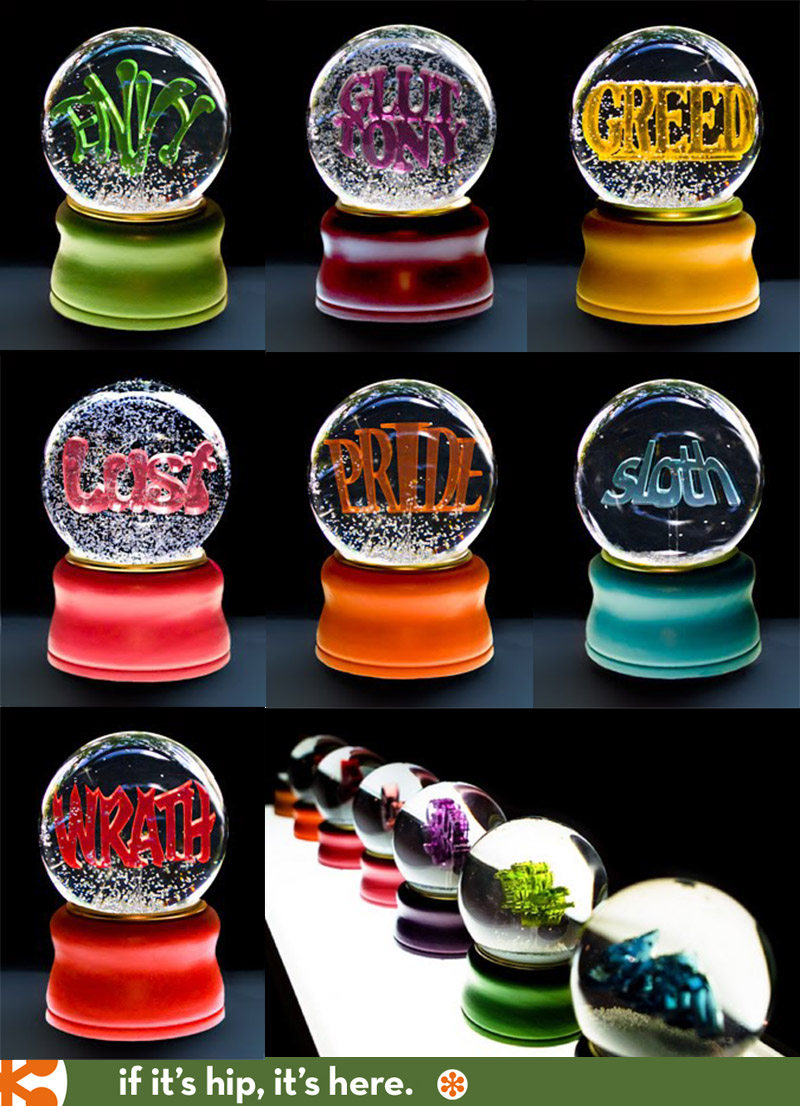 7 Deadly Sins Wine Glasses If Its Hip Its Here Archives Seven Deadly Sin Snowdomes By