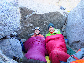 Waking up in our bivy site to a cold and windy morning.