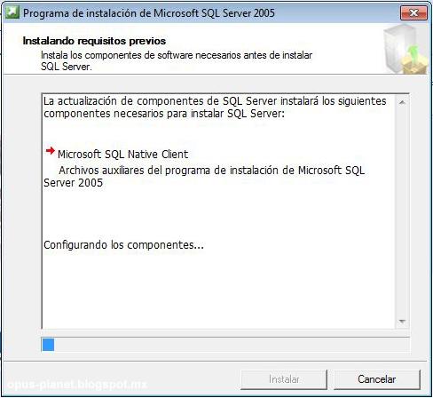 Opus Planet Instalación de SQL Server 2005