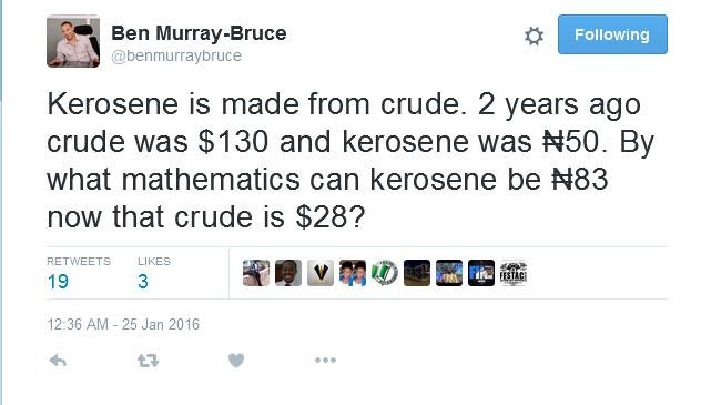 Senator Ben Murray-Bruce Tweets On FG's Increase In Kerosene Price, Makes Common Sense Yet Again