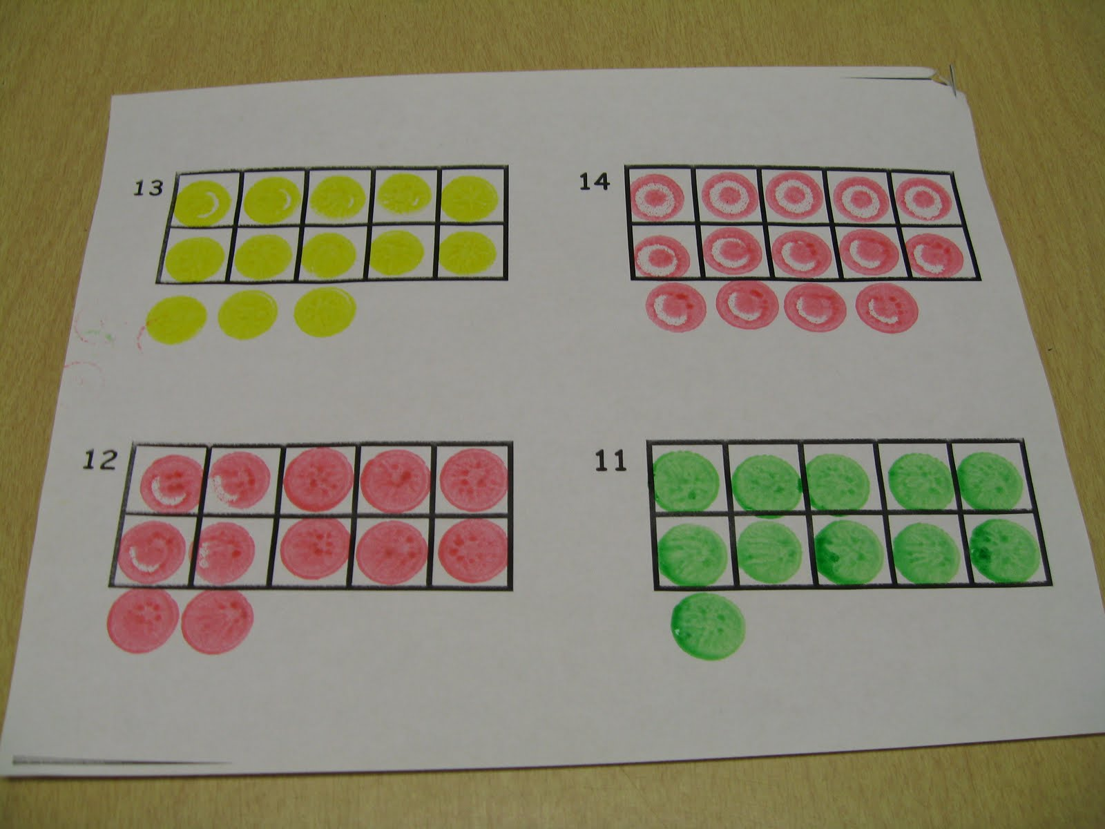 in the math center we used the red green and yellow do a dot markers to show numbers on a ten frame