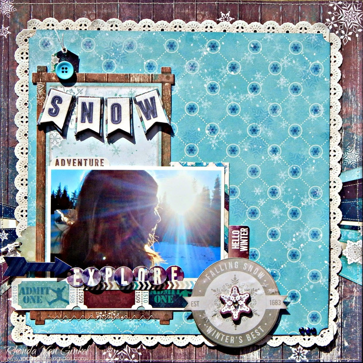 Snow Adventure Scrapbook Page by Rhonda Van Ginkel for Bo Bunny Featuring Altitude Collection