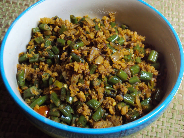 green beans and soy granules stir fried with ginger
