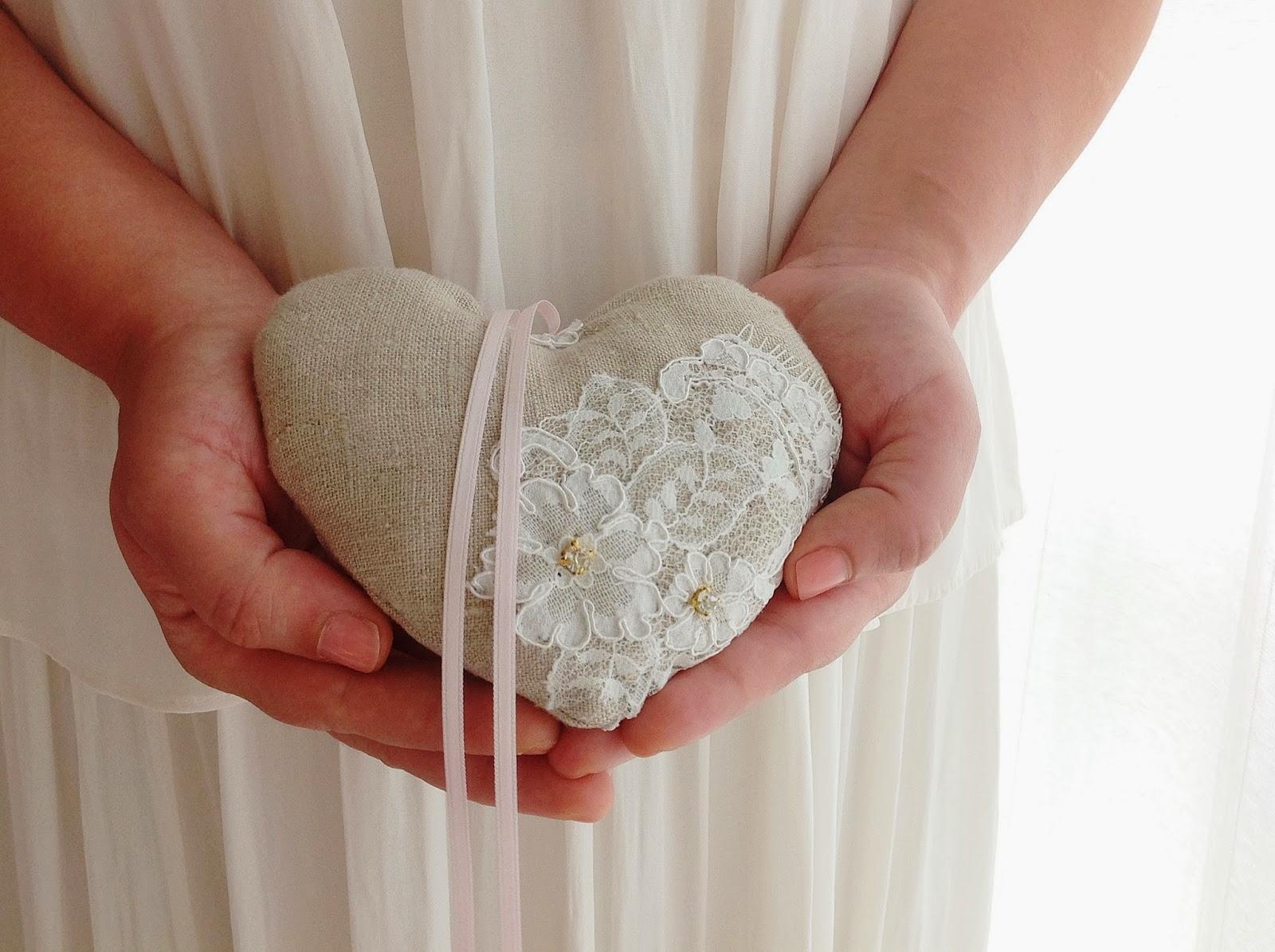 heart ring bearer pillow