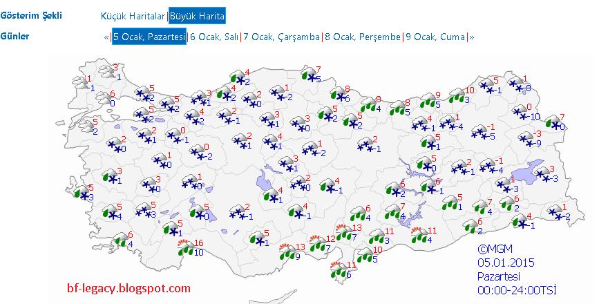 5 Ocak 2015 Hava Durumu İstanbul, Ankara, İzmir 05.01.2015 Türkiye Hava Durumu