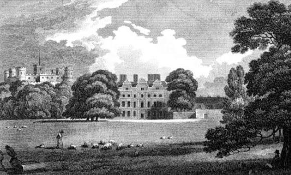 The Old Palace at Kew  from Memoirs of HM Sophia Charlotte of Mecklenburg Strelitz, Queen of Great Britain, by WM Craig (1818)