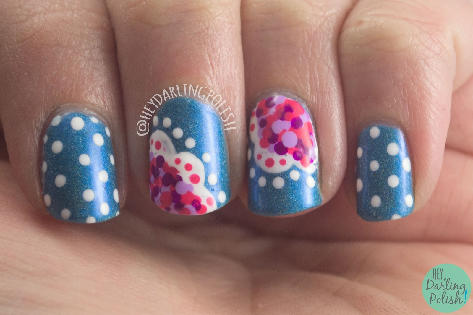 nails, nail art, nail polish, polka dots, holo, blue, pink, purple, the nail challenge collaborative, hey darling polish
