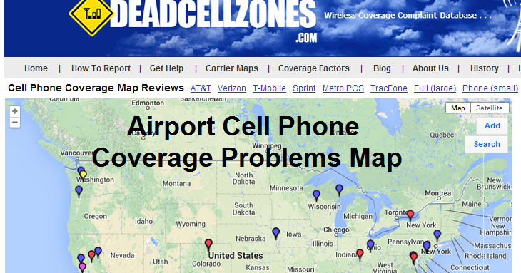 dead zones airport cell phone coverage problems map. Black Bedroom Furniture Sets. Home Design Ideas