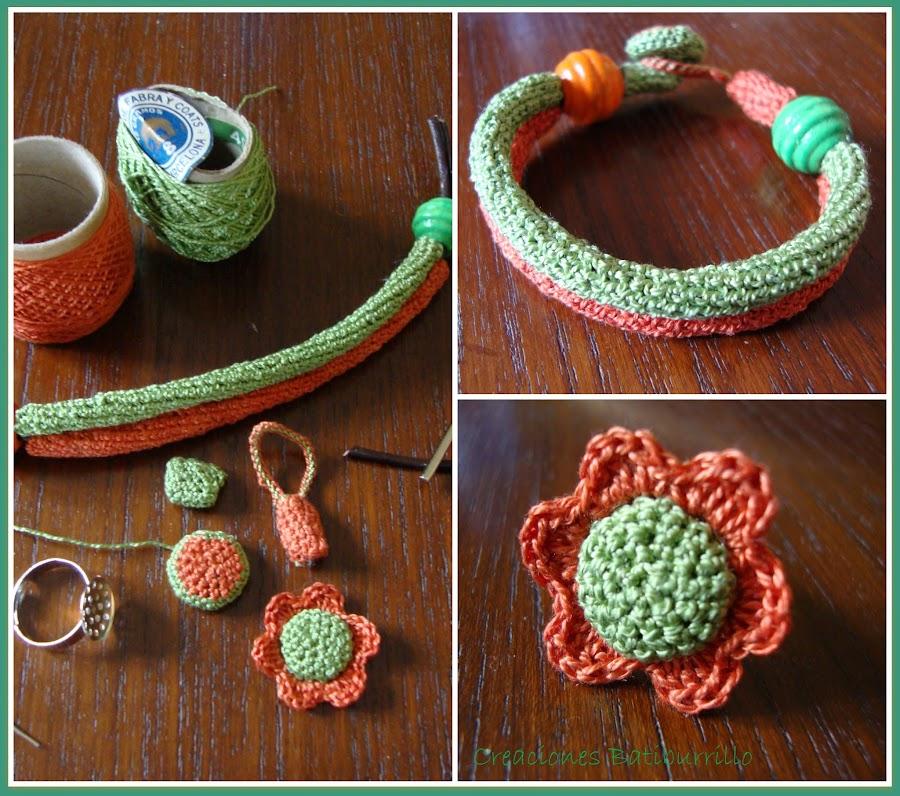 Bisutería elaborado con crochet de inspiración primaveral