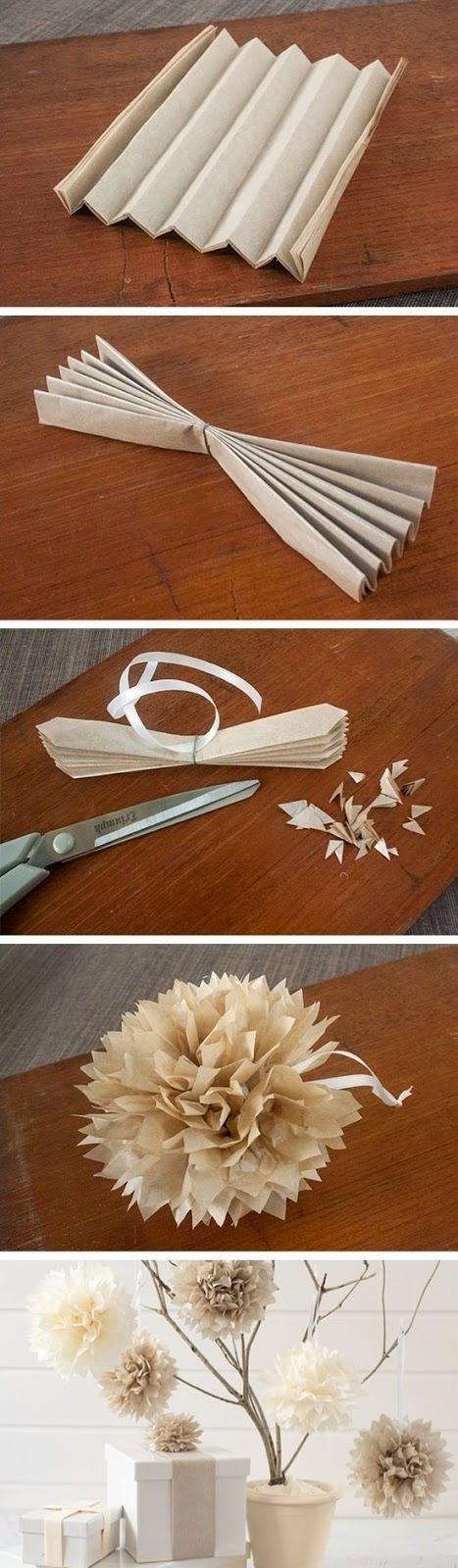Cómo hacer Pompones de Papel. Muy Fácil.