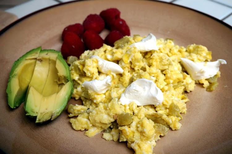 easy egg scramble green chiles cream cheese