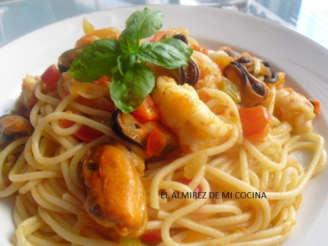 Image Result For Receta De Espaguetis Con Gambas Y Mejillones