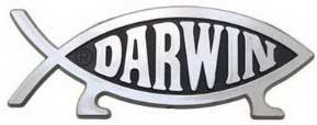 Silver fish with feet and the word DARWIN inside the fish outline