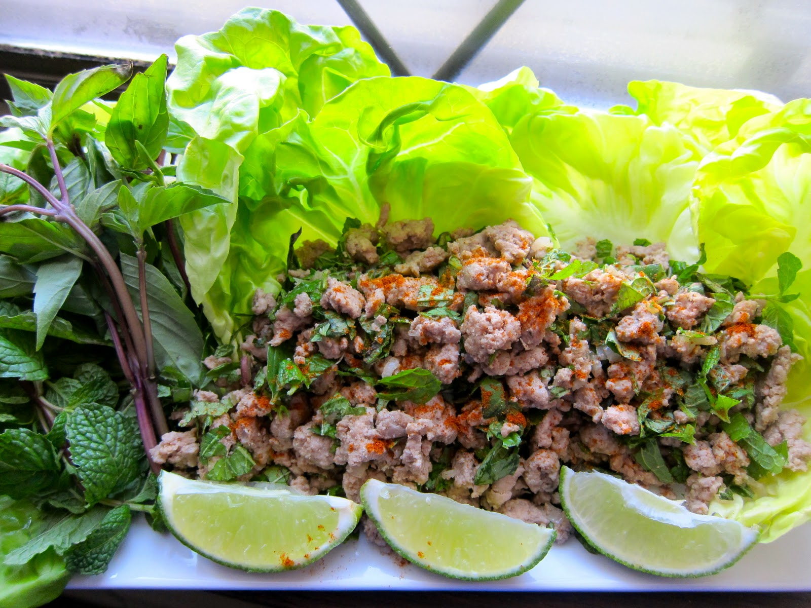 Thai Chicken Lettuce Wraps a.k.a. Larb Gai