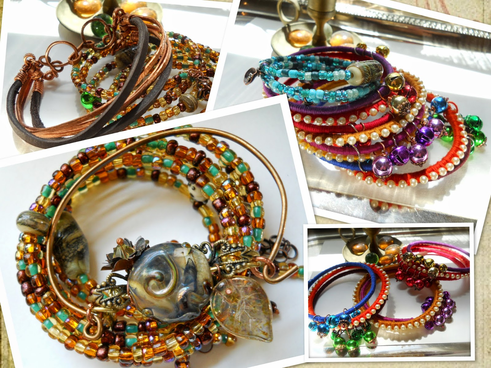 memory wire bracelets/anklets, colorful bangles, copper & leather cuff