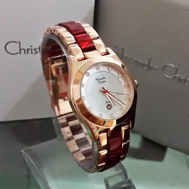 jam tangan alexandre christie 2477 merah gold