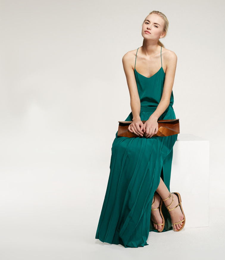 Anabela Belikova for Tibi spring summer 2014 look book, mint green maxi dress