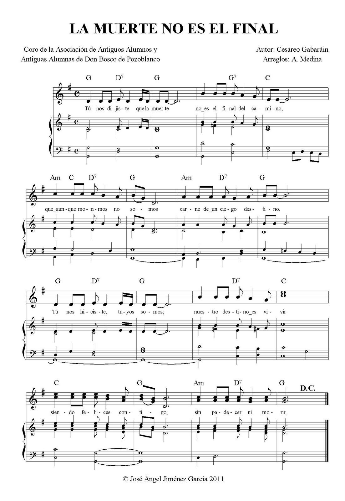 La muerte no es el final coro de la asociaci n de for Piano anteriore del camino