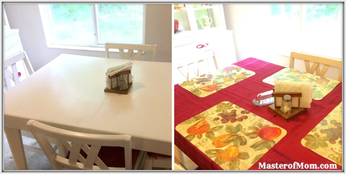 Red tablecloth, white table, fruit place mats, cheap place mats, place mats at Dollar Tree