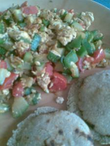 mixed vegetables scrambled eggs with English style multigrain muffins